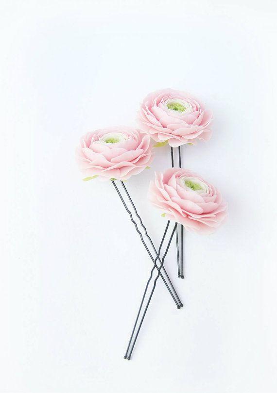 Light Pink ranunculus Hair pins SET 3  Wedding by FloralStyle