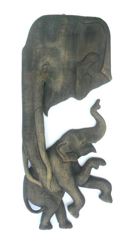 Handmade teak wood carving elephant with baby wall hanging