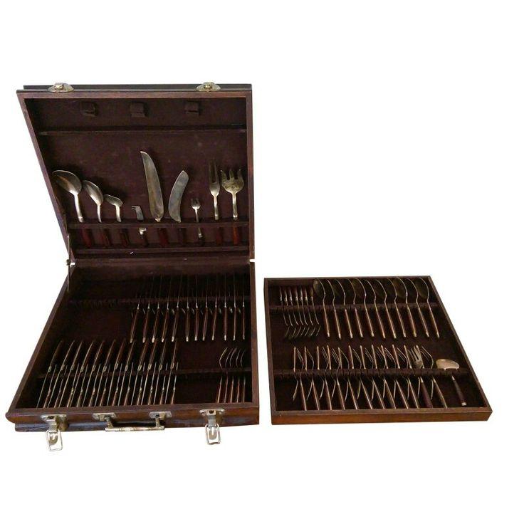 Rosewood & Brass Flatware Set