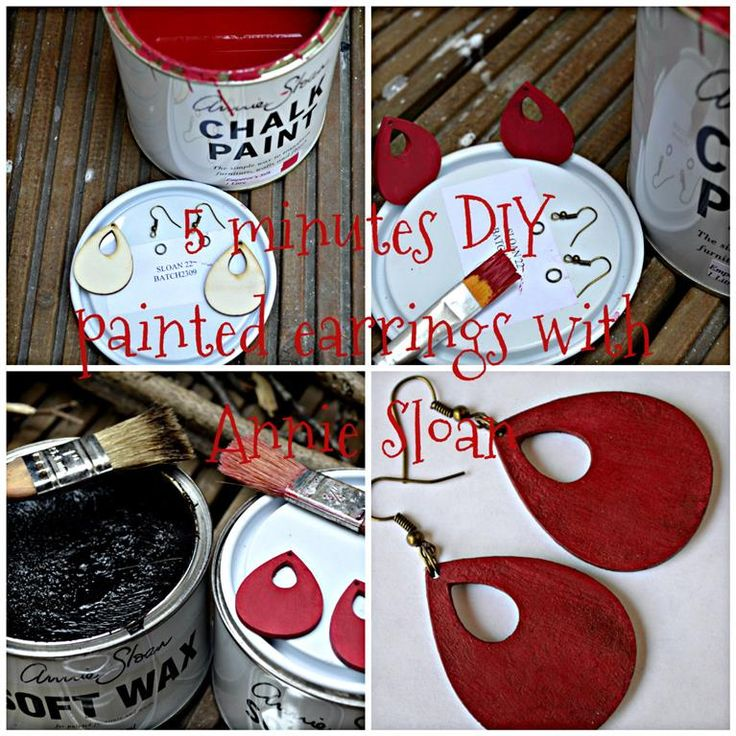 5 minutes DIY painted earrings with Annie Sloan chalk paint emperior silk
