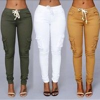 Wish | Denim Women Sport Pants Waist Drawstring Fashion Trousers