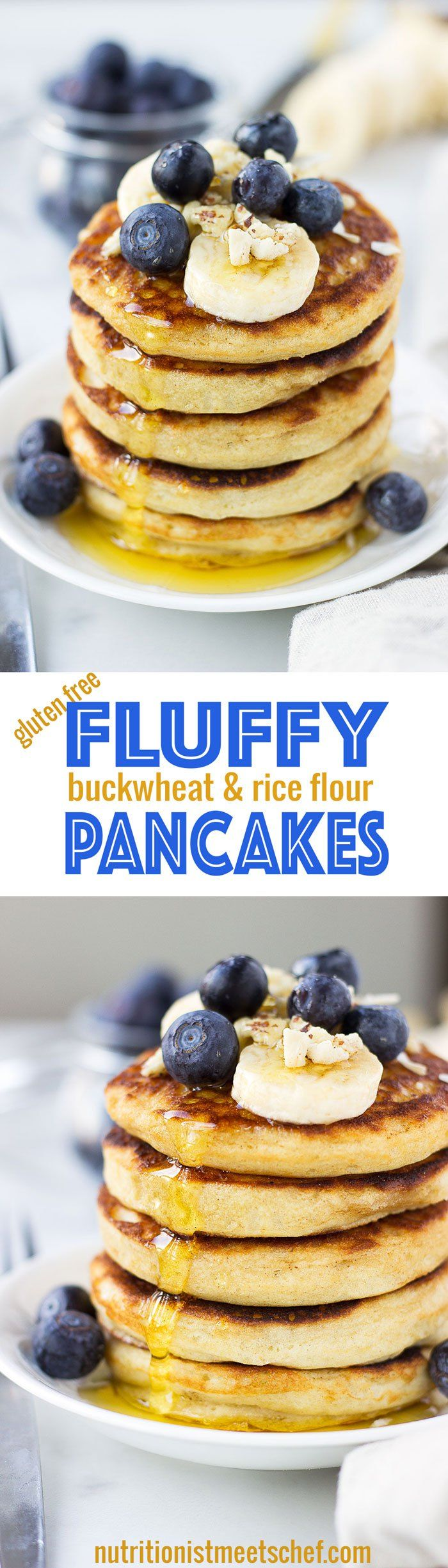 Fluffy Buckwheat and Rice Flour Pancakes! Naturally gluten free, these pancakes only require 7 ingredients and come together in about 20 minutes! Get the recipe at nutritionistmeetschef.com