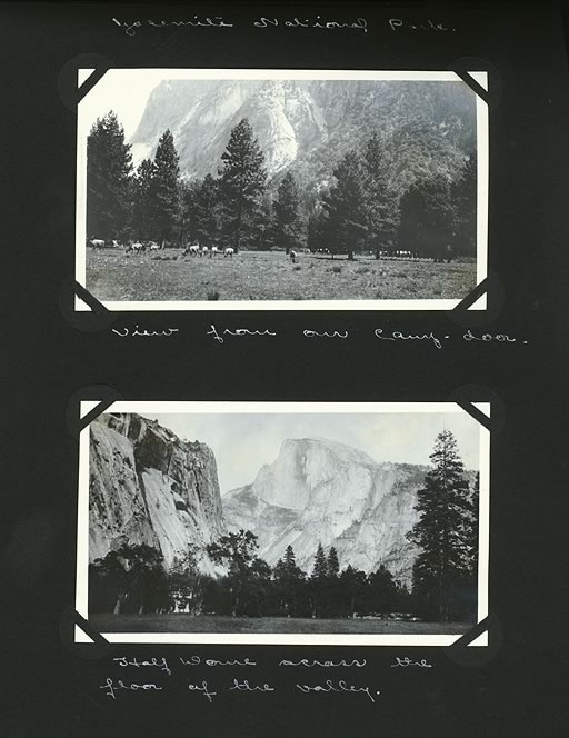 Edward and Margaret Gehrke scrapbook page with photo of wildlife outside of the Gehrke's camp and landscape of valley with Half Dome visible. Yosemite National Park. May 20-July 8, 1929.Buckets Lists, Favorite Places, Yosemite National, Gehrke Scrapbook, National Parks, Half Dome Yosemite, Margaret Gehrke, Gehrke Camps, Dome Visible
