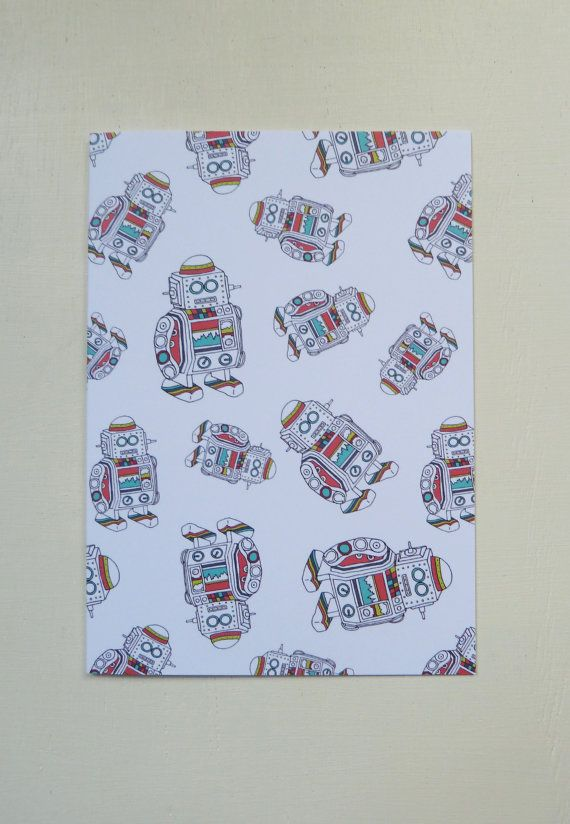 These Illustrated Robot Pattern Greetings Cards are designed and illustrated by Rachel Ali Hawkins. Great cards to give to someone special for any occasion!  They measure approx 105mm x 148mm and come in a protective cellophane bag with a plain white envelope. Printed onto thick 350gsm, FSC credited paper stock. Blank inside.   If you wish to see more of my work please go to www.rachelalihawkins.co.uk