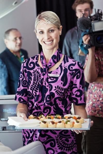 Air New Zealand crew on The Hobbit 777-300ER Media & Cast of The Hobbit flight