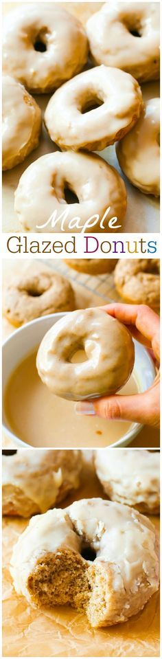 Spiced cake donuts covered in a rich, thick maple glaze. The donuts are baked, not fried and incredibly simple to prepare!