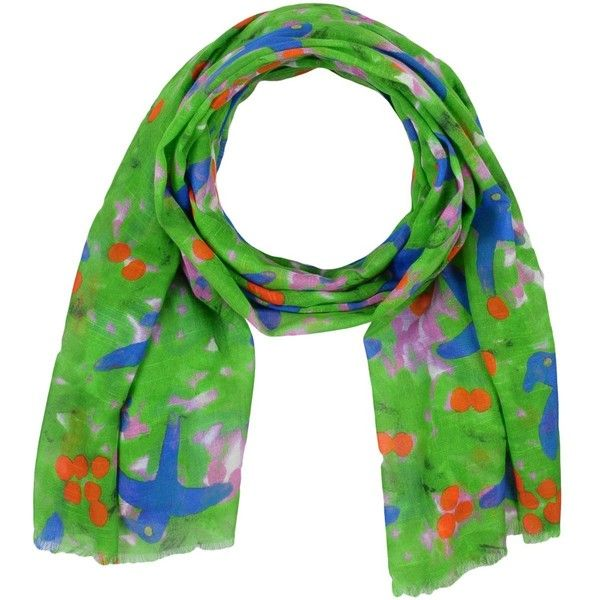 Mosaique Scarf ($96) ❤ liked on Polyvore featuring accessories, scarves, green, green scarves, patterned scarves, print scarves, gauze scarves and green shawl