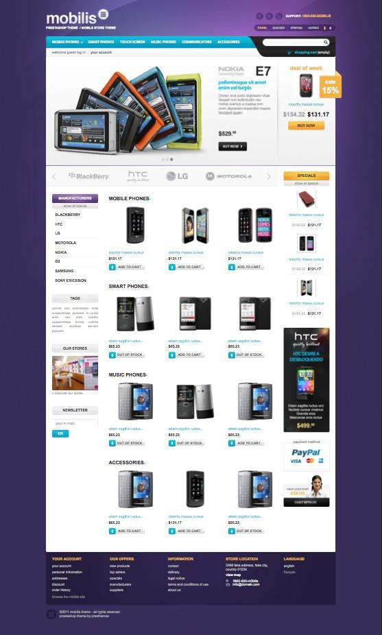 Mobilis PrestaShop Mobile Store Theme