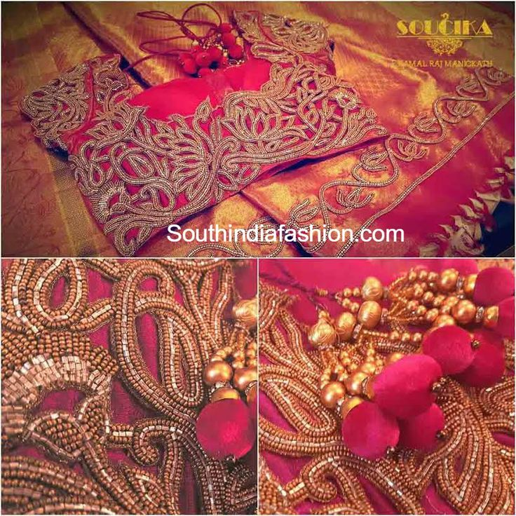 Maggam Work Silk Saree Blouse Designs by Soucika