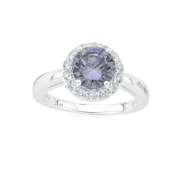 Silver Lavender Cubic Zirconia Cluster Ring