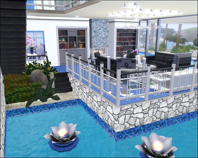 Pool inside house sims 3 and 4 houses pinterest best for Pool design sims 3
