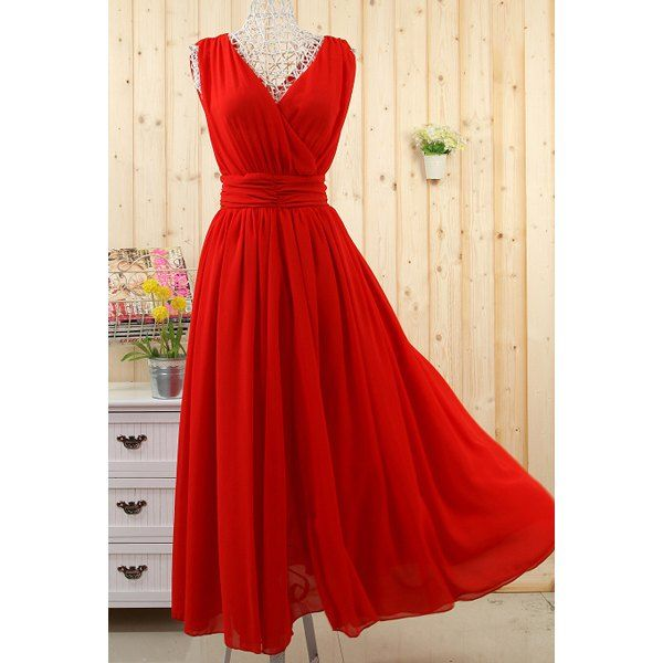 Ladylike Plunging Neck Ruffled Sleeveless Chiffon Dress For Women