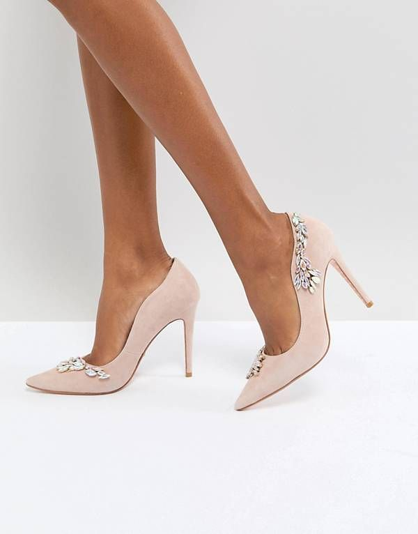 566be844ea9 Dune London Bridal Bestowed Pink Suede Court Shoe with Irredesent ...