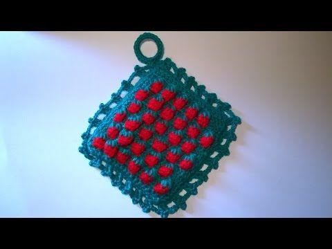 Presina Fragole Uncinetto Tutorial - Crochet Potholder Strawberry- Croche Pega Panela #presina #fragole #potholder  #crochet  #uncinetto #tutorial  #descanso #panela  #morango #fresa #pega  #strawberry #stitch #agarraderas #croche #morango #croche