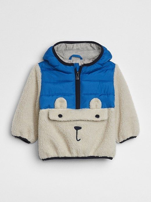 6fa358808 Gap Baby Sherpa Graphic Pullover Jacket Blue Allure