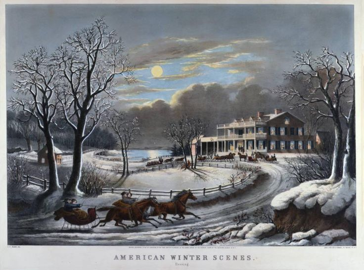 Currier & Ives print showing sleighs arriving to a wintertime party, 1854.