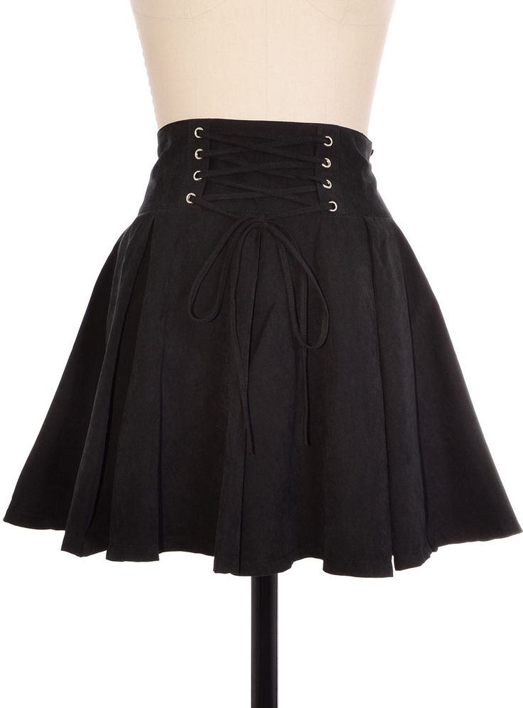 black laced high waist flare skirt plasticland just