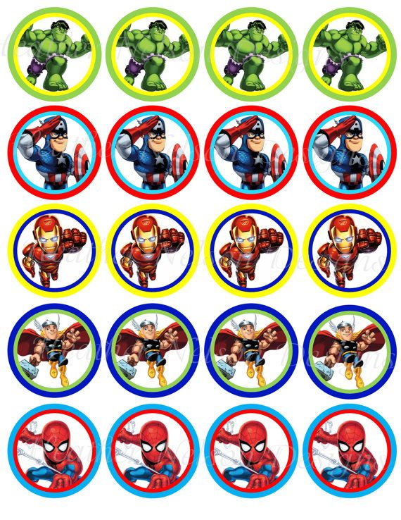 Super Hero Squad Circle Tags Stickers or by DesignsofHeather