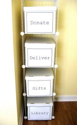 """DIY Storage for """"Transient"""" Items.   keeps your good intentions from cluttering your house! Excellent! miraesto"""