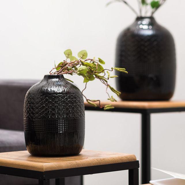 Fesselnd Vase Keramik, D:15cm X H:20cm, SchwarzVase Keramik, D: