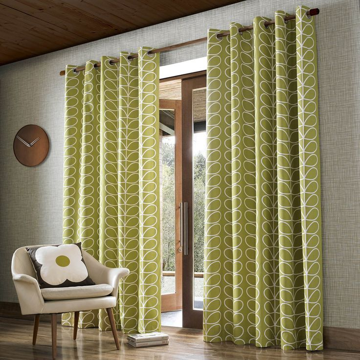 Buy Orla Kiely Linear Stem Eyelet Curtains - Olive - 229x274cm | Amara