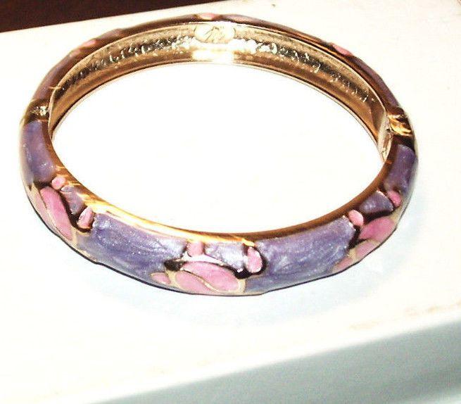 829db0a767aac Hinged Enamel Pearl White Bangle Bracelet w/ Turtles Signed Jiu Long ...
