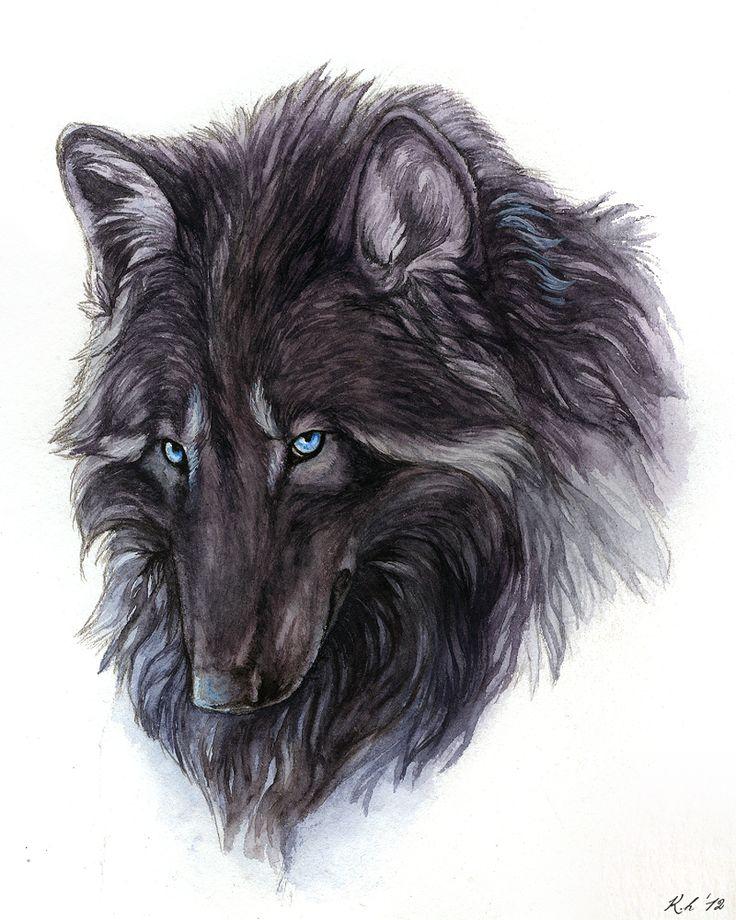 Картинки черные волки нарисованные