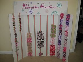 My display board - Hip Girl Boutique Free Hair Bow Instructions--Learn how to make hairbows and hair clips, FREE!
