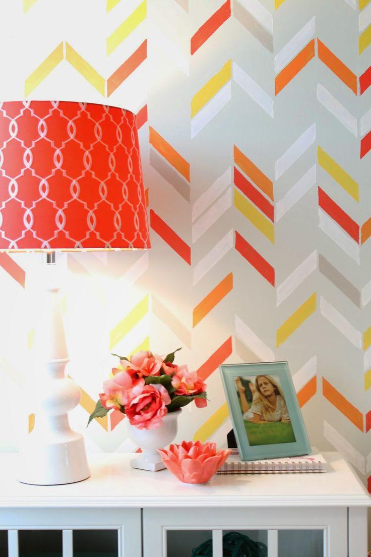 20 best color me orange images on pinterest design studios diy bedroom makeover redo colorful painted pattern in girls room with modern herringbone shuffle