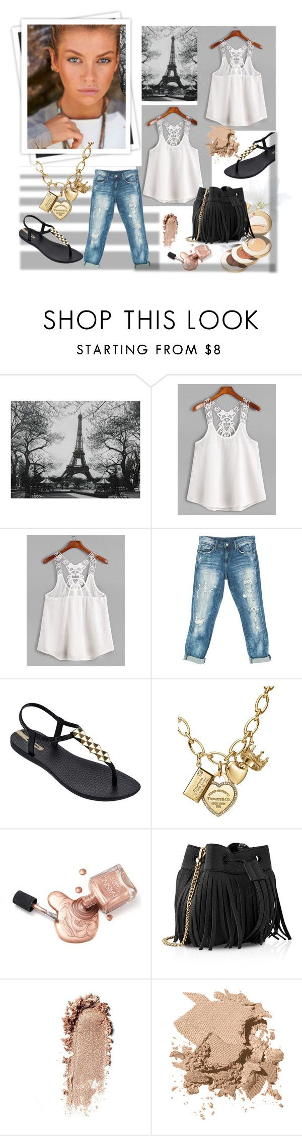 """""""White Contrast Lace Crochet Cami Top"""" by marija-1987 ❤ liked on Polyvore featuring WALL, GALA, Sans Souci, IPANEMA, Tiffany & Co., Jane Iredale, Whistles and Bobbi Brown Cosmetics"""