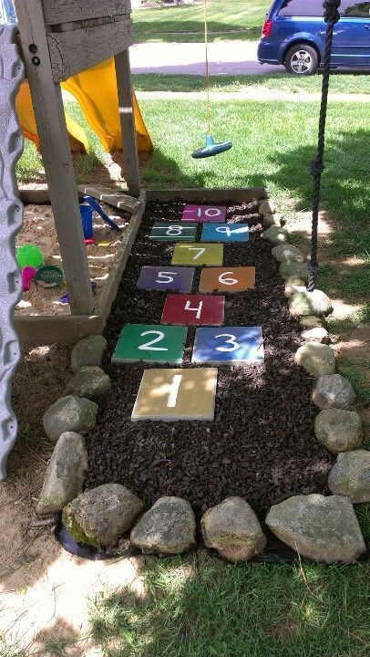 A beautiful way to cover up the dead grass stain #outdoorplayareaforkids