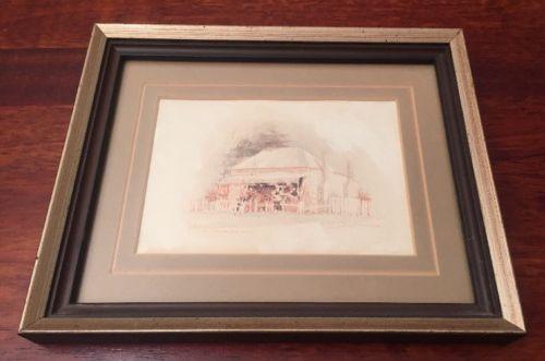 Vintage-Original-At-Goulburn-Ink-Wash-Conte-Painting-By-P-Kuneman