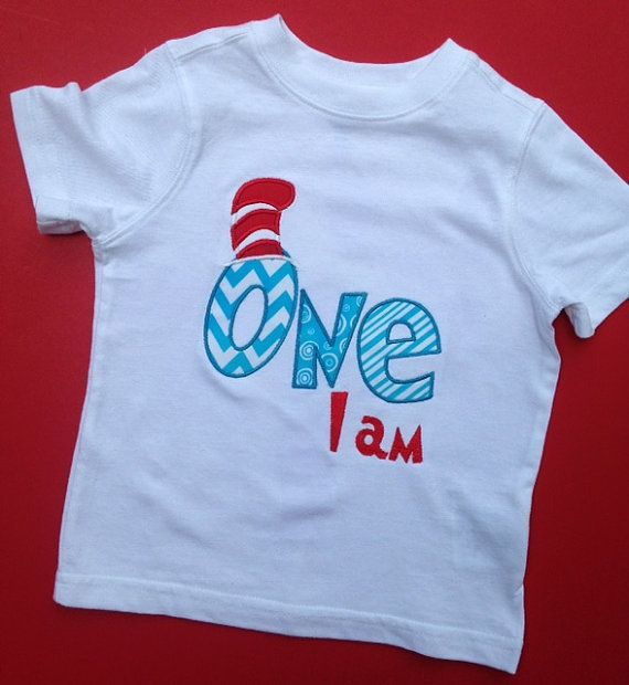 This is the perfect birthday shirt for your upcoming Dr. Suess Birthday Party! Your little one will look so cute!  I can do this design on a