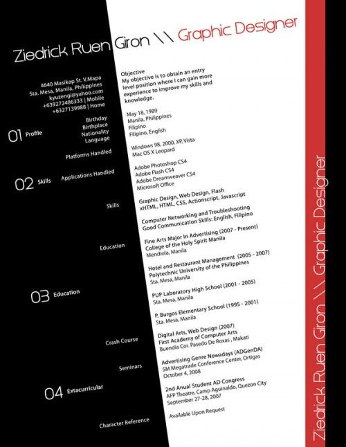53 best CV créatif images on Pinterest Creative resume design - difference between cv and resume