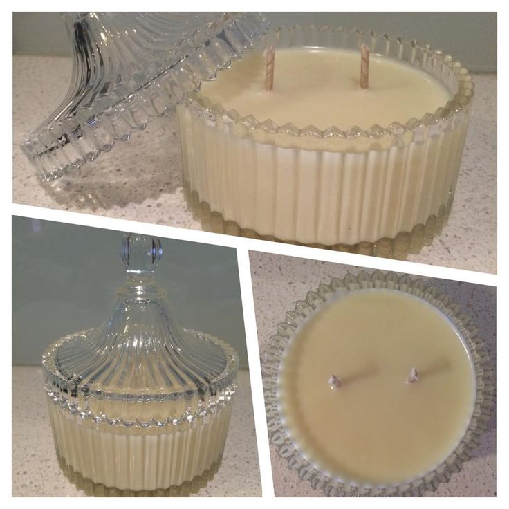 Antique Glass Jar with Lid Soy Candle Double Wick