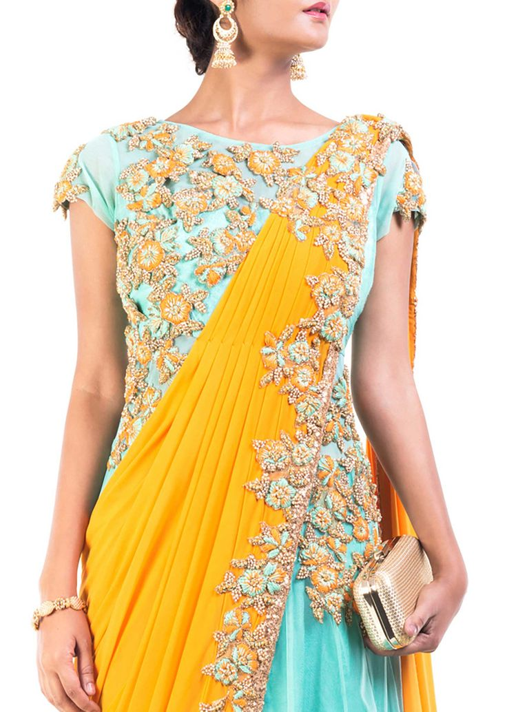 beautiful Saree Gown with floral embroidery