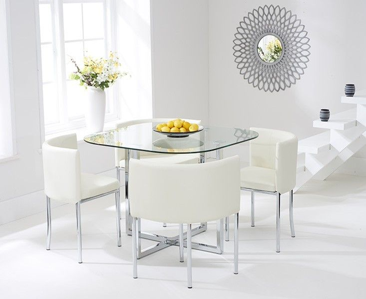 Buy the Algarve Glass Stowaway Dining Table with Cream High Back Stools at Oak Furniture Superstore