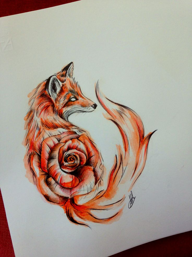 #fox #foxy #rose #draw #drawing #watercolor #tattoo #tattooart #sketch #sketchtattoo #animal #artwork #tattooartist #tattoodesign #design #savage