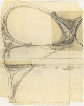 Hector Art Nouveau interior | Projet de demi-canapé pour Mme Legrand (1900).