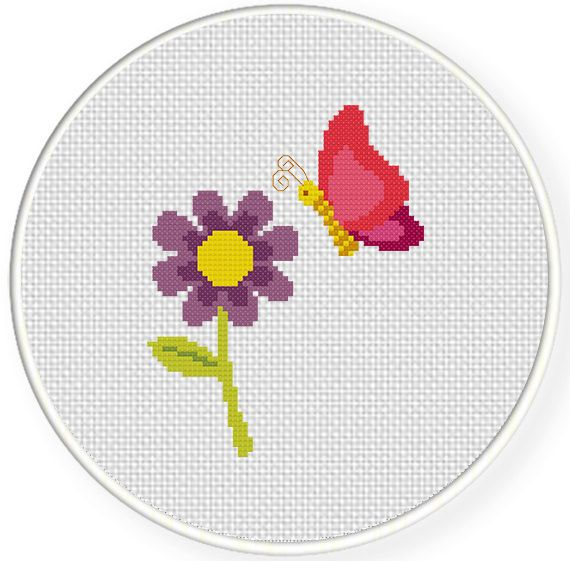 FREE for June 9th 2014 Only - Butterfly and Flower Cross Stitch Pattern