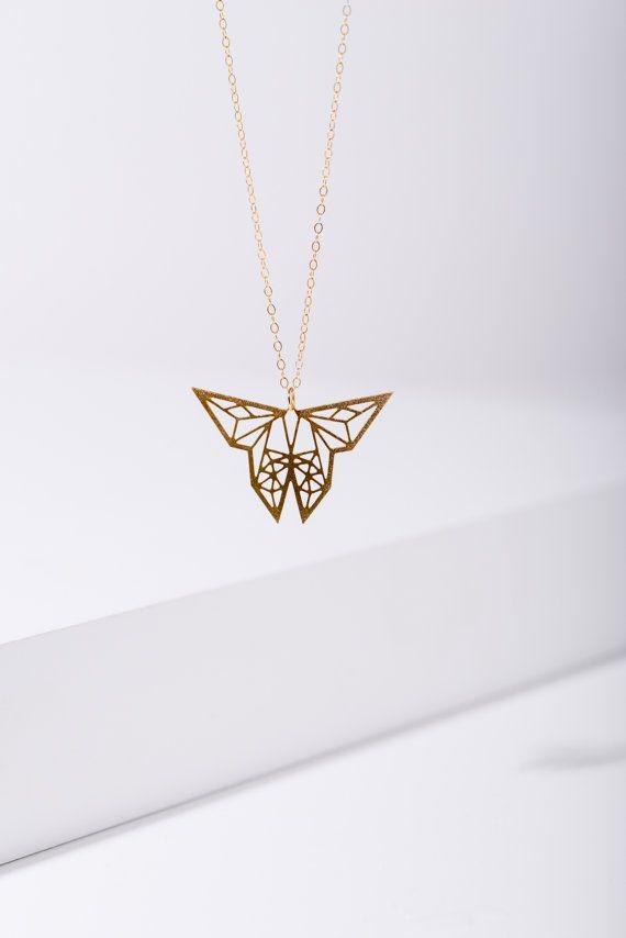 MIZYAN's geometric butterfly necklace origami by HananMass on Etsy