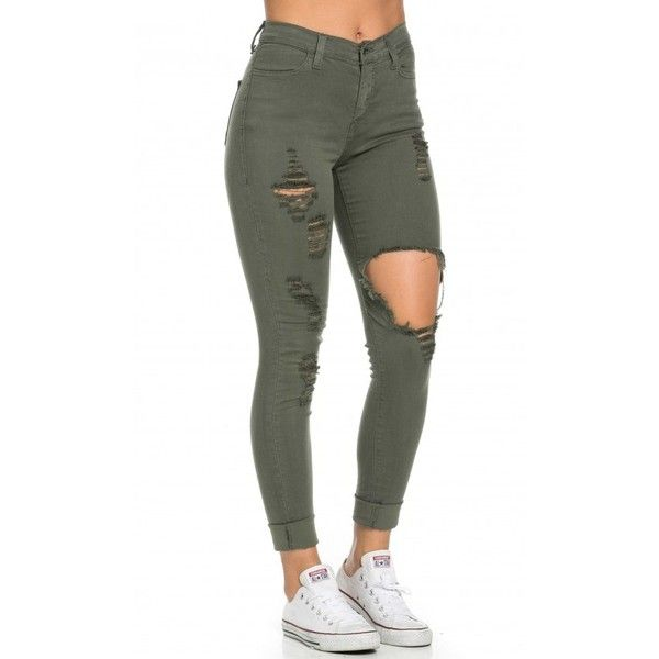 Khaki ripped high waist jeans