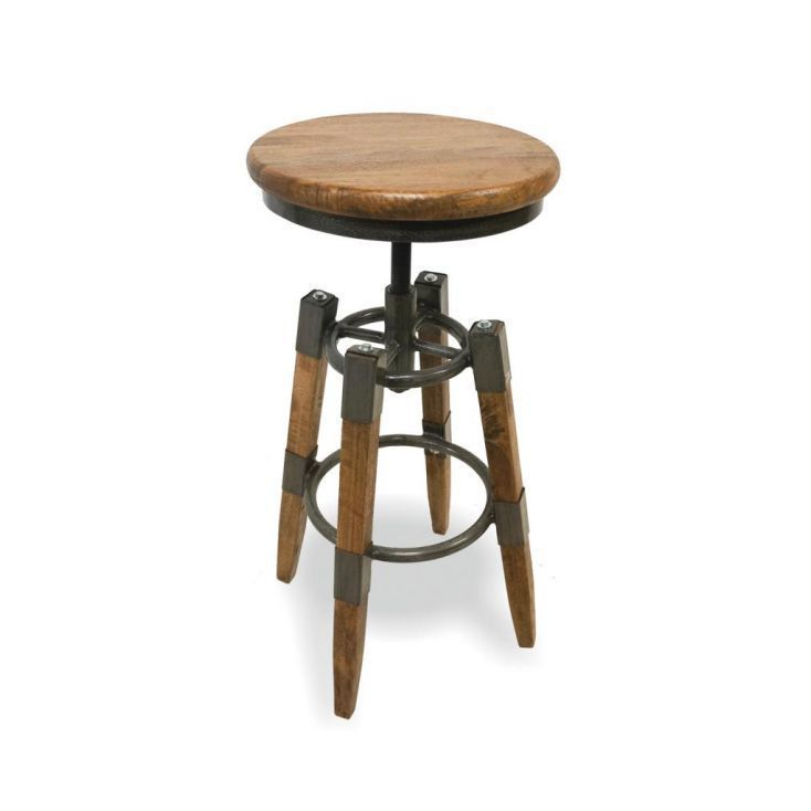 Industrial Swivel Stool With Wood Seat Vintage Bar Stools Bar