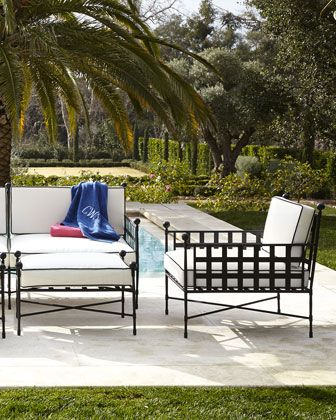 """Avery Neoclassical Outdoor Lounge Chair & Ottoman Metal frames with powder-coated finish. Cushions covered in water-repellent/resistant polyester fabric. Outdoor safe. Seat cushions, 4""""T; back cushions, 3""""T. Lounge chair, 30.5""""W x 35""""D x 33.25""""T. Boxed weight, approximately 59 lbs. Ottoman, 31""""W x 23.75""""D x 18.75""""T. Boxed weight, approximately 29 lbs."""