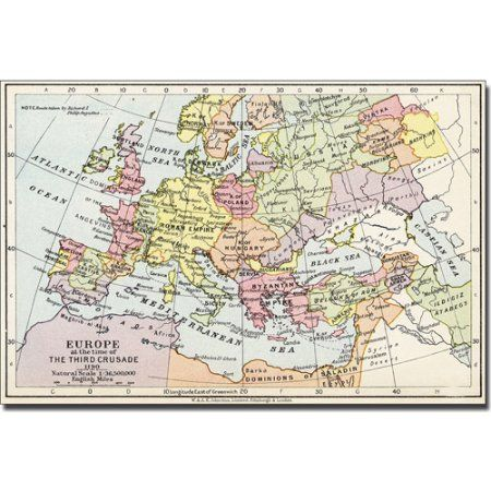 Trademark Art 'Europe at the Time of the Third Crusade, 1190' Canvas Art, Size: 14 x 19, Multicolor