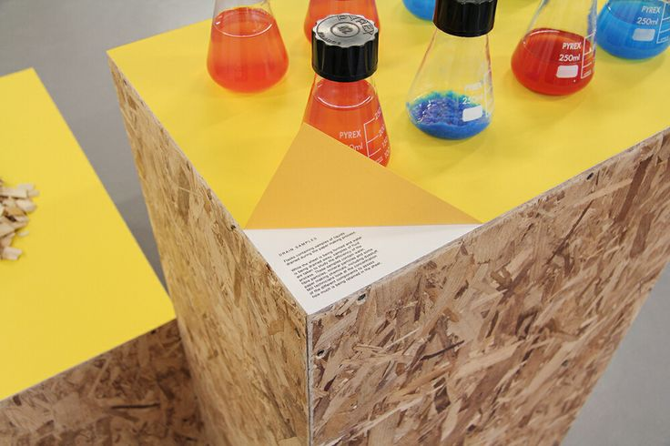 Exhibition designs: cool aesthetics combining colour with chipboard