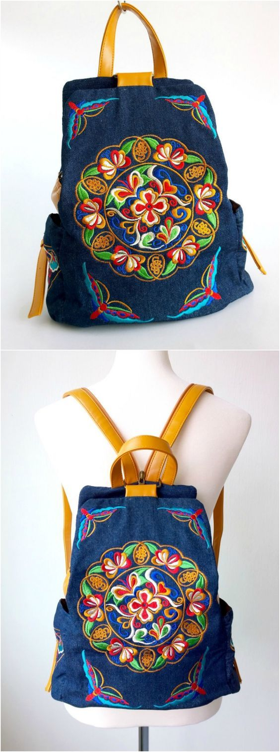 Blue Denim Embroidery Backpack is available at $49 from Pasaboho. Ethnic Boho Style Backpack with Denim Embroidery Fabric. This bag exhibits brilliant colours with bold embroidered patterns. Wholesale and Retail available. Fashion trend and styles from hippie chic, modern vintage, gypsy style, boho chic, hmong ethnic, street style, geometric and floral outfits. Love boho style and embroidery stitches. Hippie girls free spirit woman outfit ideas and bohemian clothes, cute dresses and skirts.