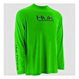 Huk Performance Raglan Long Sleeve Neon Green Large