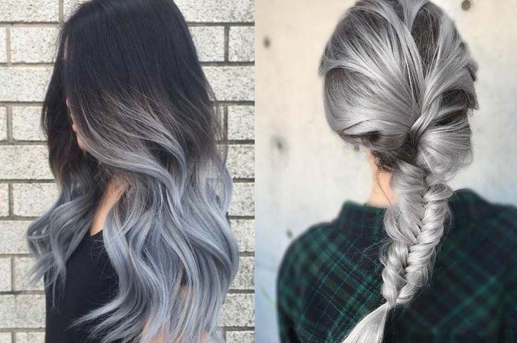 Resultado de imagen para mechas californianas grises en cabello oscuro