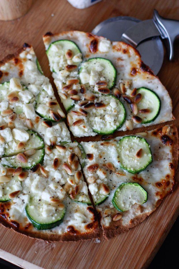 Skillet Zucchini and Feta Tortilla Pizza #zucchini #pizza #recipe